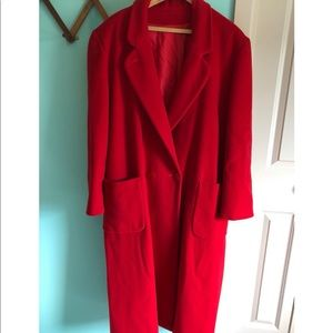 VTG 70s Red Wool Long Trench Coat